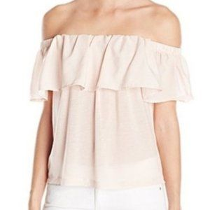 Simple Chic French Connection Blush Ruffled Blouse
